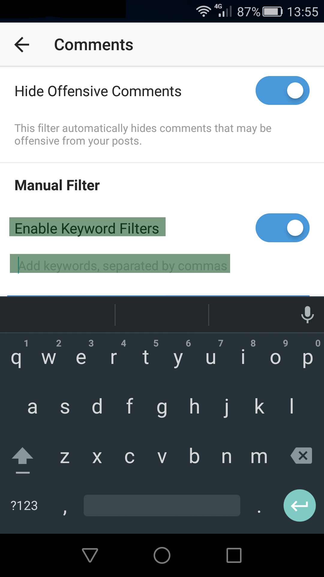 How to filter comments on Instagram